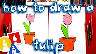 How To Draw A Tulip In A Pot - Plant A Flower Day