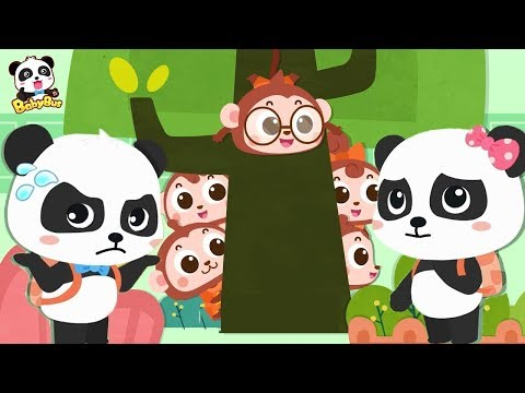 Baby Panda's Looking For Five Little Monkeys | Number Song, Learn Colors | Toddler Song | BabyBus