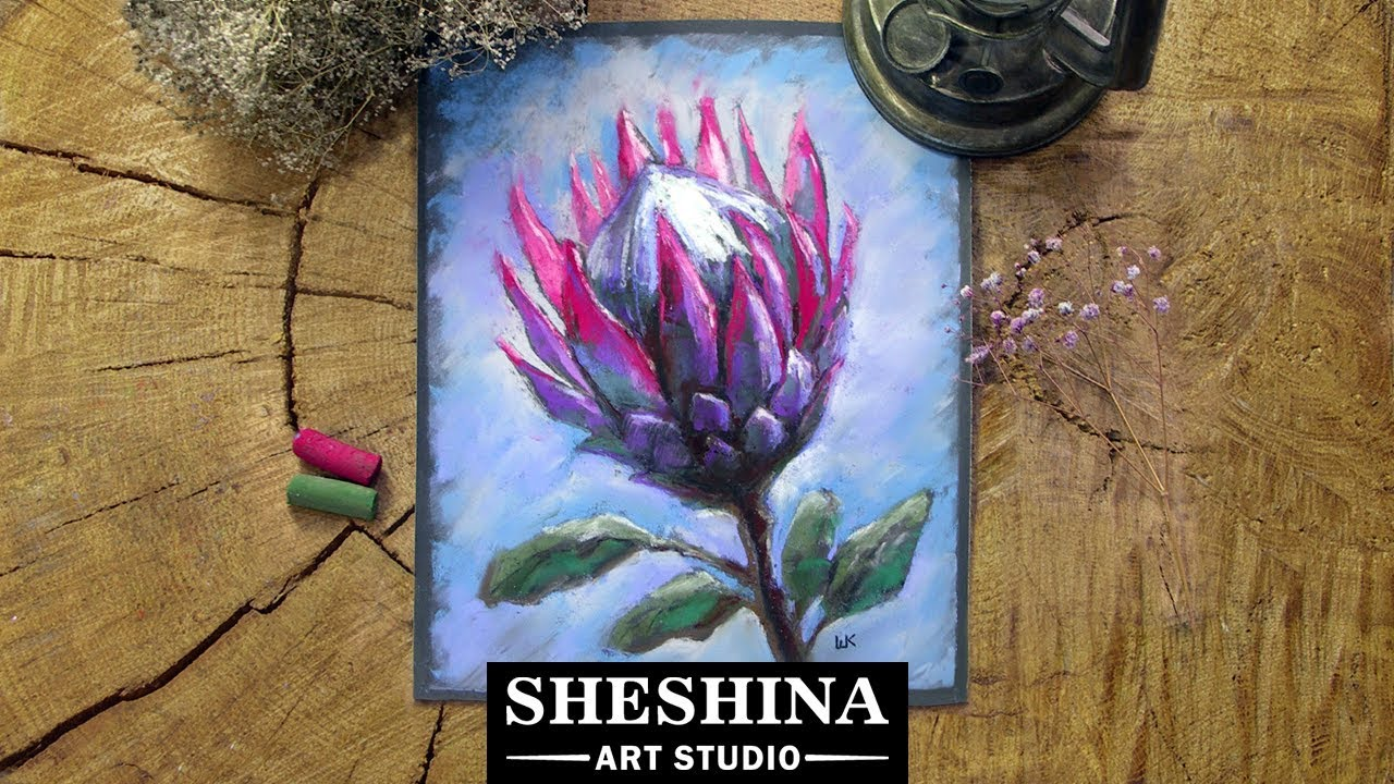 c12a9b9eb How to draw a Protea flower with soft pastels 🎨 Flowers – Hildur ...