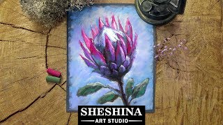 How to draw a Protea flower with soft pastels 🎨 Flowers