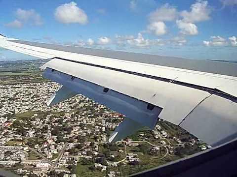 BGI Caribbean Airlines 737-800 Landing Bridgetown Barbados Boeing