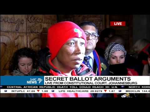 Julius Malema reacts following secret ballot arguments