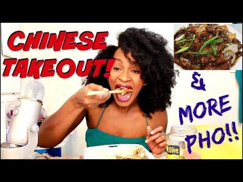 ASMR/MUKBANG: CHINESE TAKEOUT! MONGOLIAN BEEF, AND YES I'M EATING PHO AGAIN! YUMMYBITESTV
