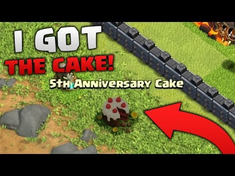 How To Get The 5th Clashiversary Cake! Clash Of Clans Cake Obstacle Tutorial!!
