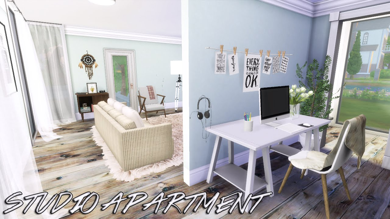 The sims 4 room build studio apartment 1 living area for Studio apartment area