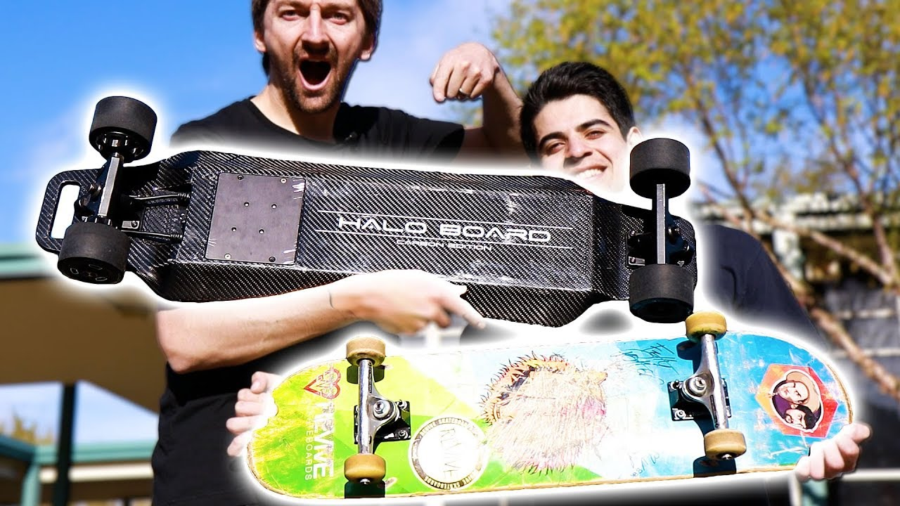 ELECTRIC VS REGULAR SKATEBOARD!?  CARBON FIBER HALO BOARD 2