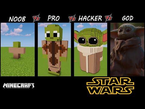 Minecraft Battle: NOOB Vs PRO Vs HACKER VS GOD BABY YODA BUILDING CHALLENGE 13+