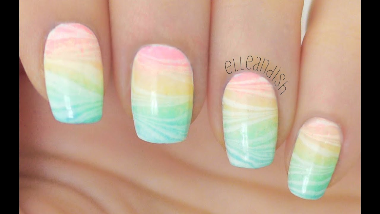 How To Do Sheer Watermarble Nails Youtube