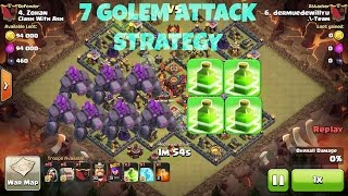 Clash Of Clans - New 7 Golem + 4 Jump Spell Guaranteed 2 Star Attack Strategy - Destroy Max Th10