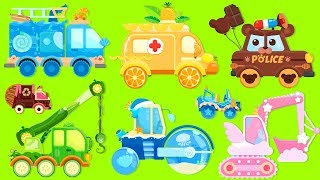 Car Truck Kids | Fire Truck, Ambulance, Police Car, Steamroller, Excavator | For Kids Cartoon