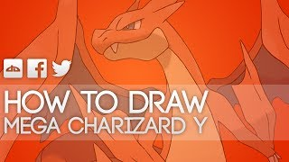 How to draw Mega Charizard Y Step by Step Tutorial Pokemon X and Y - HD