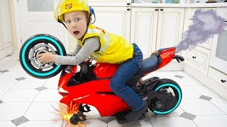 Senya and the missing wheel on a Sports Bike.