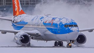 Spectacular Heavy SNOW Arrivals, Departures & DE-icing | Plane Spotting at Vancouver YVR