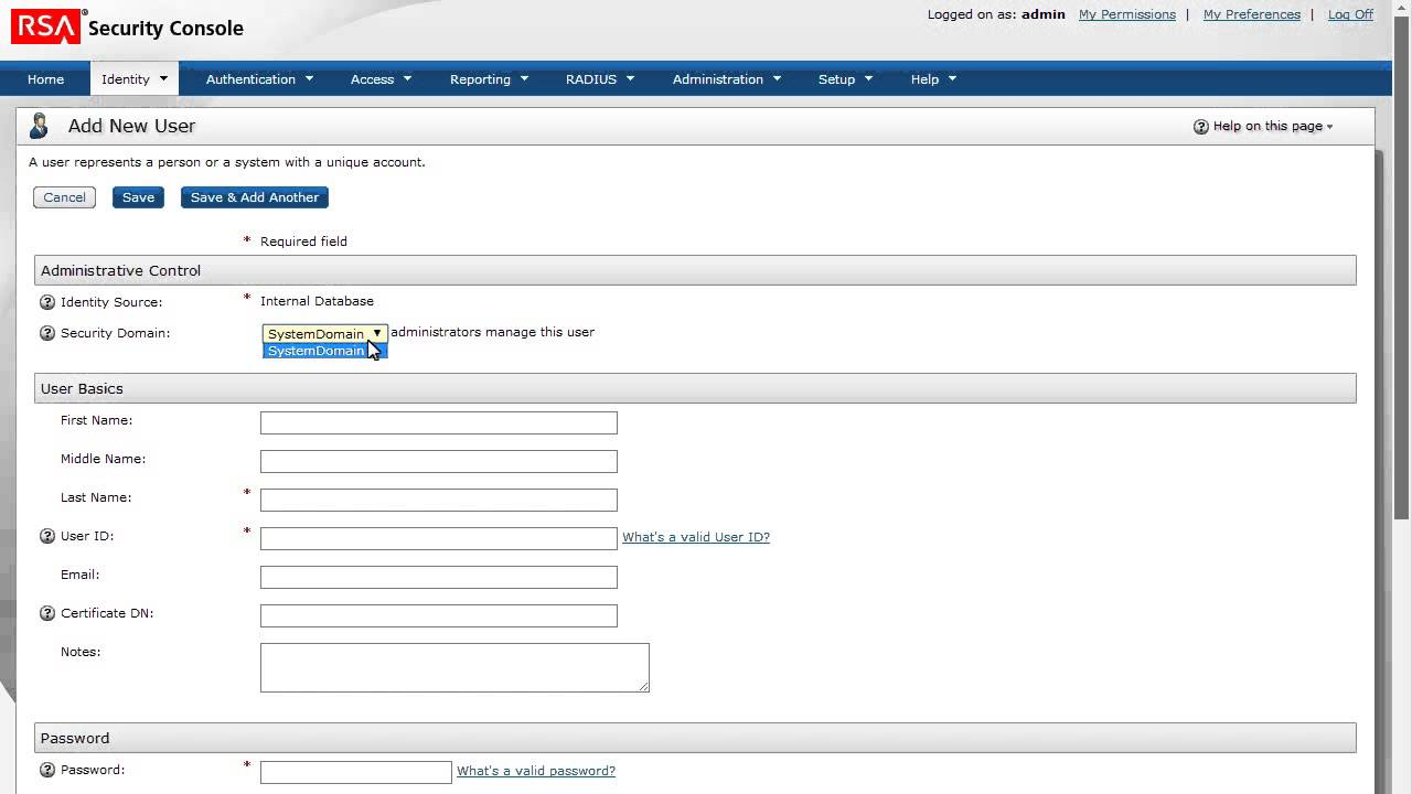 rsa authentication manager 81 add a user to the internal database