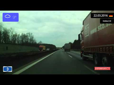 Driving through Bayern (Germany) from Kitzingen to Nürnberg 22.03.2016 Timelapse x4