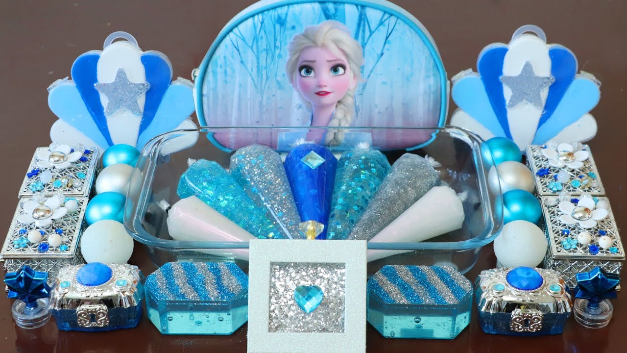"""Mixing""""Elsa"""" Eyeshadow and Makeup,parts,glitter Into Slime!Satisfying Slime Video!★ASMR★"""