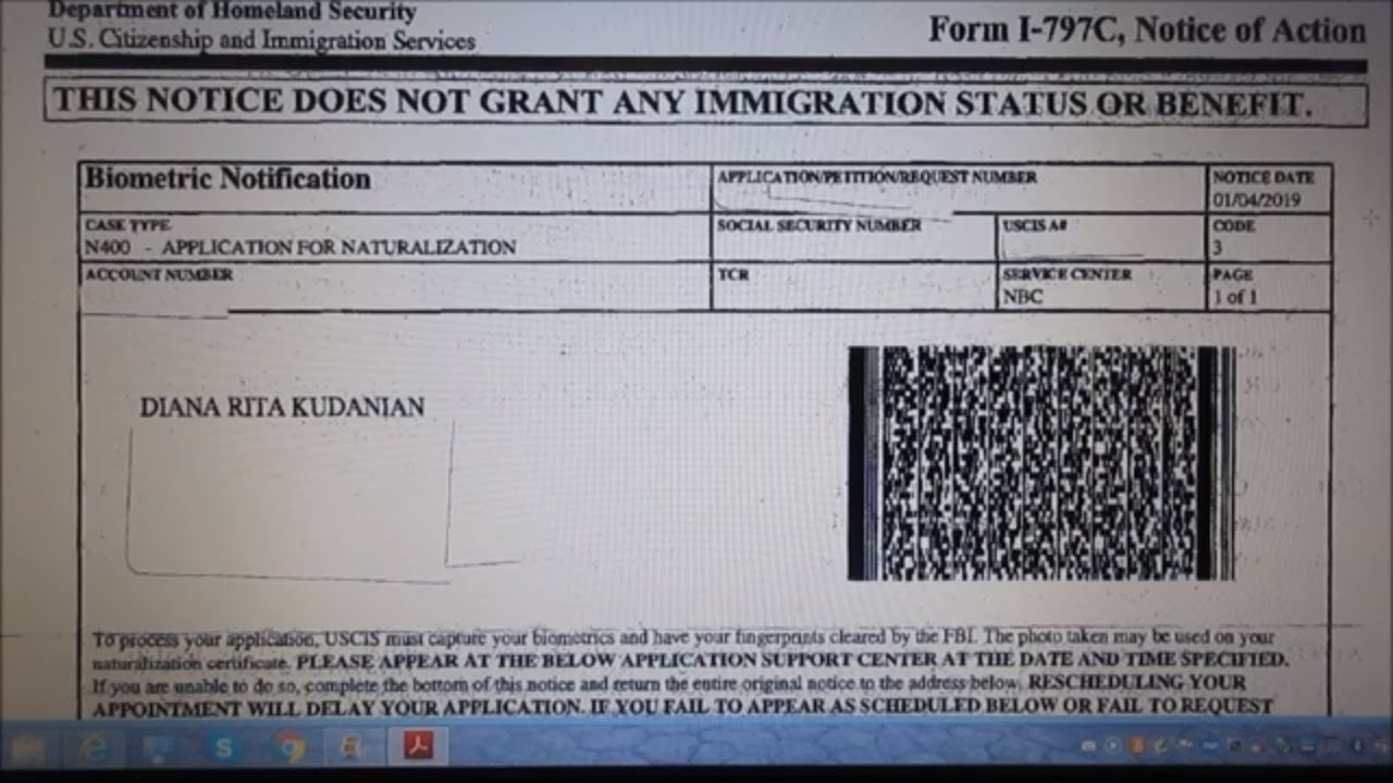 USCIS 2nd Notice to the N-400 Application for Citizenship - Biometric  Notification