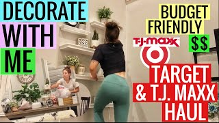 DECORATE WITH ME! Target and TJ MAXX haul // budget friendly decorating video of living room
