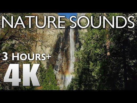 3 HOURS RELAXATION #4 Yosemite Nature Sounds - Waterfalls & Birds Singing - Bridalveil Fall 4K