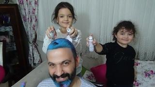 Babamızın Saçını Rengarenk Boyadık Çok Eğlenceli Oldu