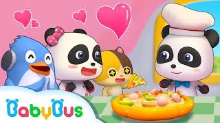 Baby Panda Bakes Pizzas and Hamburgers | Cooking Pretend Play | Cake Song, Ice Cream | BabyBus
