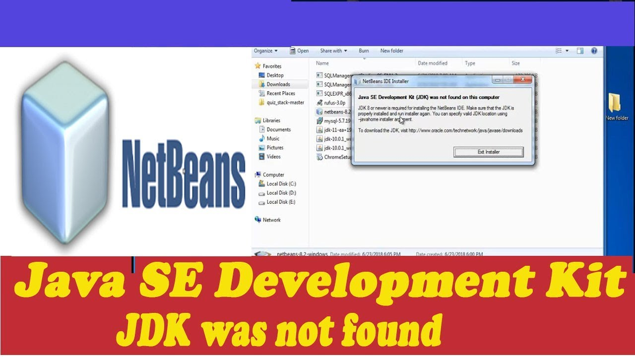 Java SE Development Kit (JDK) was not found on this computer