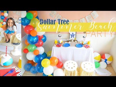 Summer Beach/Pool Party Decor Ideas!! - (Dollar Tree DIY) + ORGANIC BALLOON GARLAND