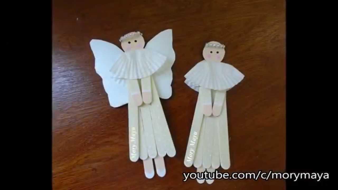 Como hacer angelitos con palillos de paleta diy for Decoracion navidena