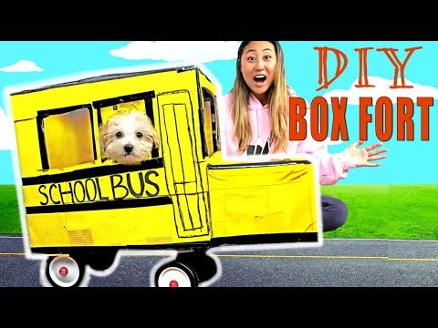 DIY BOX FORT SCHOOL BUS!! 📦🚌(IT ACTUALLY WORKS!)