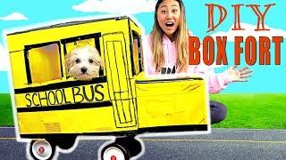 DIY BOX FORT SCHOOL BUS!! (IT ACTUALLY WORKS!)