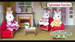 Sylvanian Families Calico Critter Luxury Lounge Room Set Unboxing and Play Rabbit Family - Kids Toys