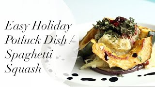 Easy Holiday Potluck Dish: Spaghetti Squash W/ Pesto & Sundried Tomatoes