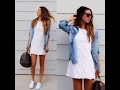 Women's outfits ideas with white sneakers 2017