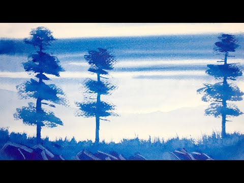 Super easy watercolor landscape lessons for beginners – painting a sky scene.