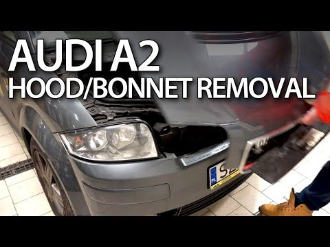 How to open the hood in Audi A2 (service, maintenance)