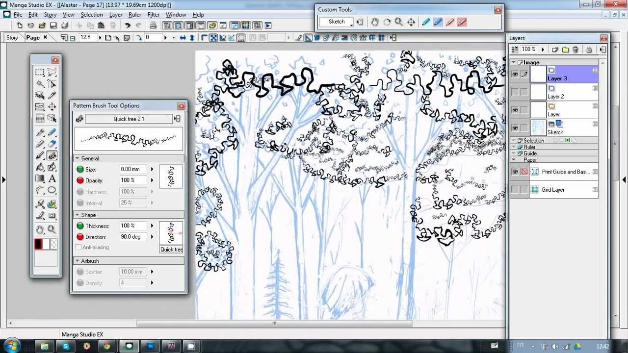 Fast And Cool Trick For Tree, Bushes And Leaves Outline With Manga Studio 4  Brush Pattern