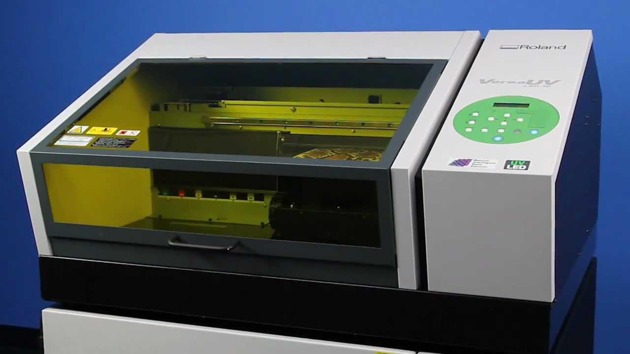 Roland versauv lef 12 benchtop uv flatbed printer youtube for Uv t shirt printing