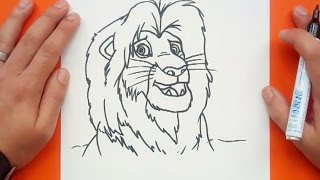 Como dibujar a Simba paso a paso - El rey leon   How to draw Simba - The king lion