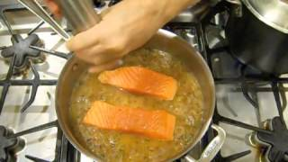 poached salmon with shallots