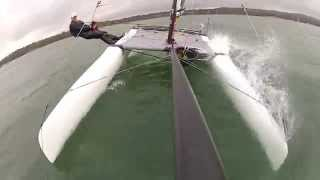 Shadow catamaran sailing - gybe fail