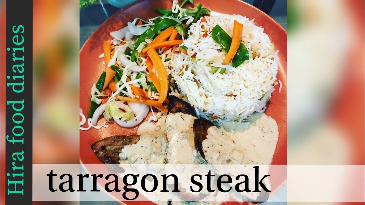Chicken steak with tarragon sauce
