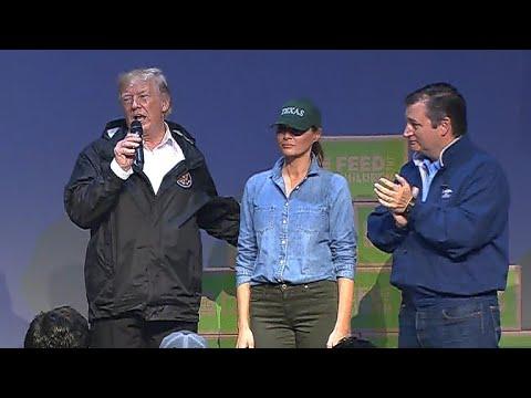 President Trump speaks to Harvey volunteers, evacuees