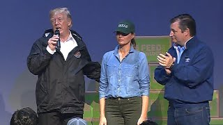President Trump speaks to Harvey volunteers, evacuees