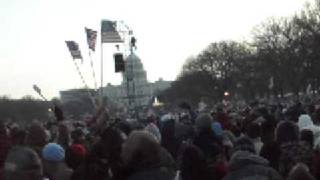 Obama Inauguration crowd dancing and singing to