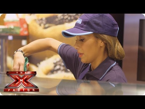 Is that Nicole serving up a cheese and onion pasty? (Yes, it is) - The X Factor 2013