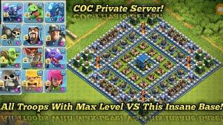 All Troops With Max Level VS Insane Base Defense! (COC Private Server)