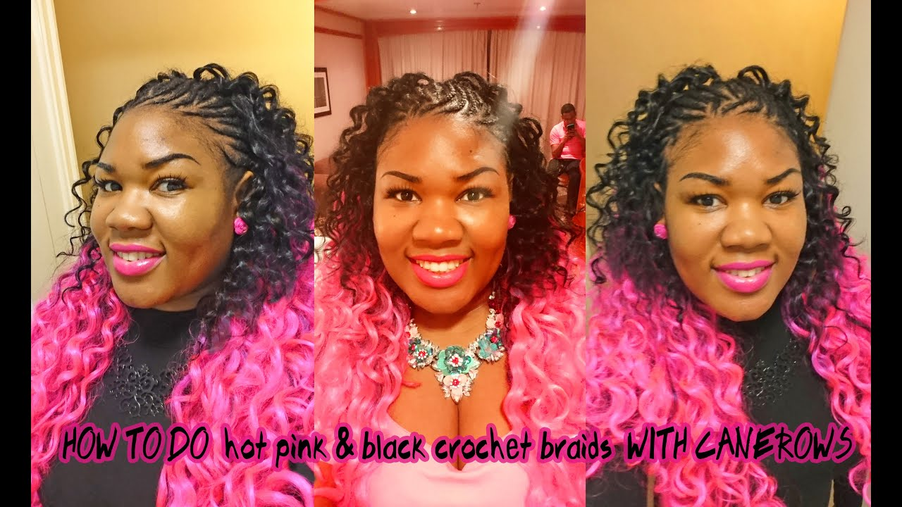 Hot Pink Black Curly Crochet Braids Ombre Hair Extensions