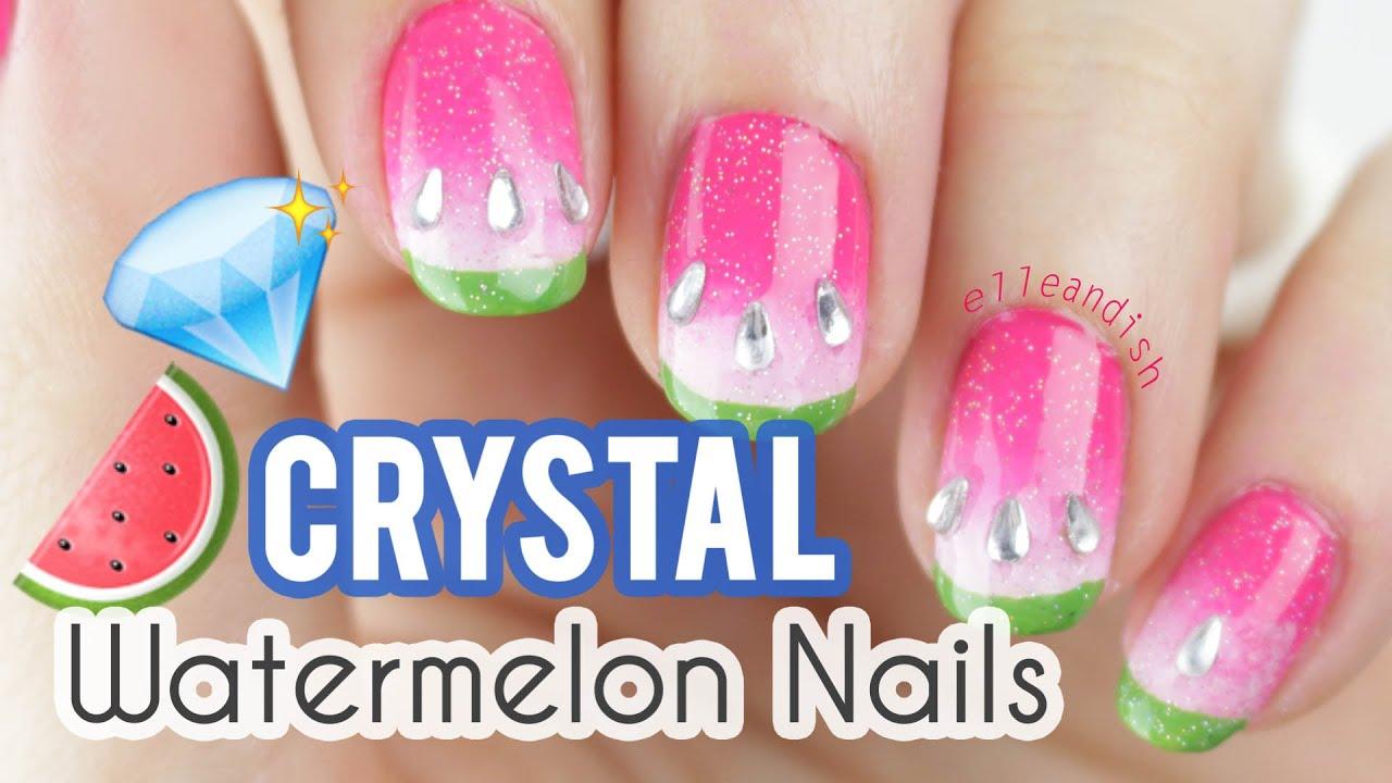 ☆ CRYSTAL WATERMELON NAIL ART ☆ - YouTube
