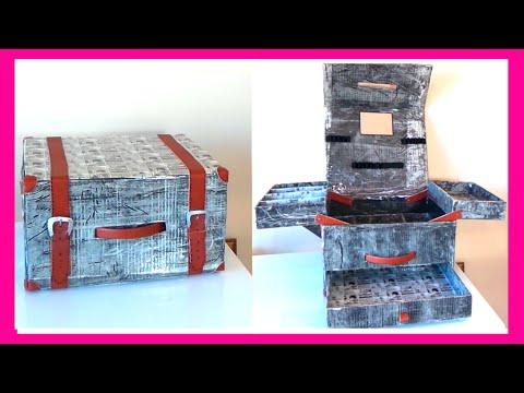 como hacer un maletn organizador de maquillaje con cajas de cartn fciles youtube