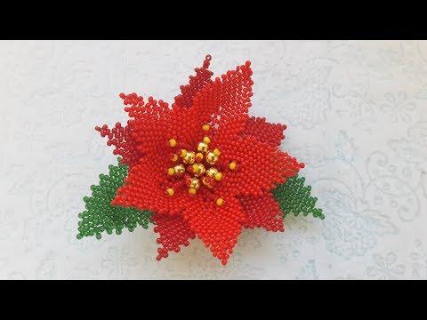 Цветы из бисера пуансеттия